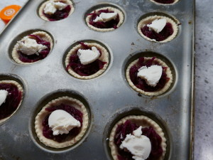 Red onion and goats cheese tarts