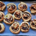 Goats cheese and red onion marmalade rollups (3)